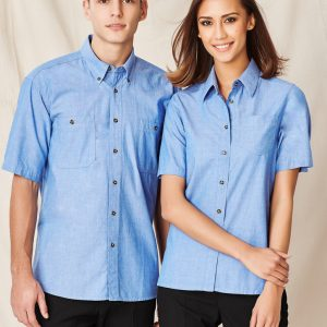 Wrinkle Free Chambray Ladies S/S Shirt